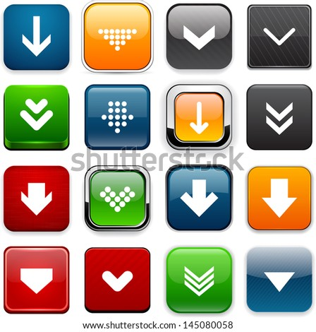 Set of download square color buttons for website or app. Vector eps10. - stock vector