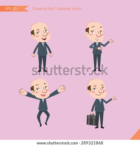 Set of drawing flat character style, business concept bald boss activities - businessman, research, office worker, counselling, growth, jump up  - stock vector