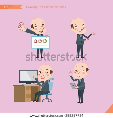 Set of drawing flat character style, business concept  bald boss worker  activities - presentation,  ok sign, counsel,  - stock vector