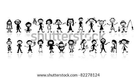 Set of 24 drawing people's for your design