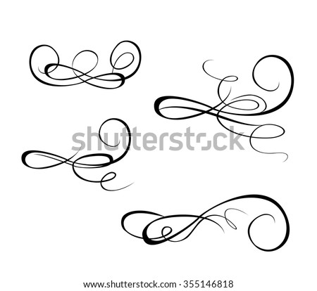 Set of drawing vintage scroll - stock vector