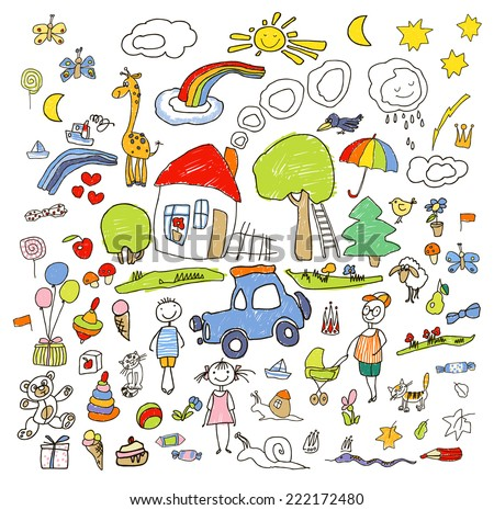 Set of drawings in child like style. Vector color illustration. - stock vector