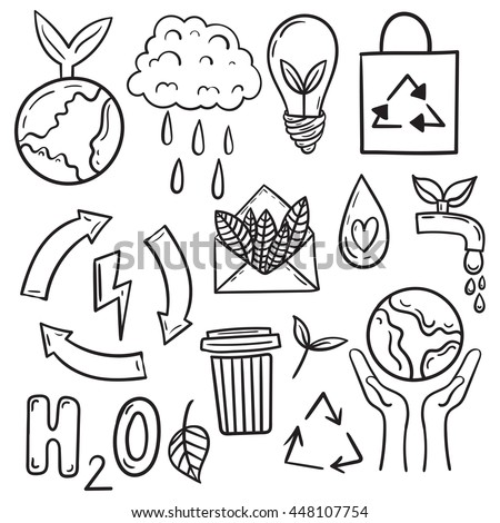 Set of drawn by hand ecology simple line doodle illustrations. Vector recycle environmental icons. - stock vector