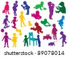 Set of  drawn colored silhouettes of children (kids) and, children play, dance, walk, drink from glass, study to walk, go for a walk with a dog, go for a drive on skateboards. Vector illustration. - stock vector