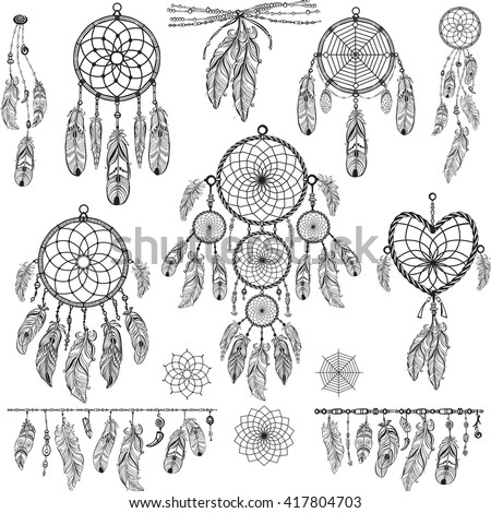 Dreamcatcher vector stock images royalty free images for Dreamcatcher tattoo template