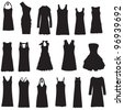 Set of dresses isolated on white background - stock vector