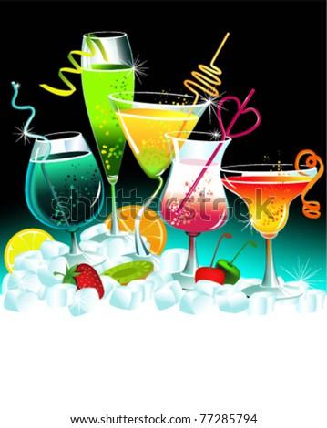 Set of drinks - stock vector