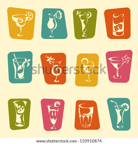 Set of drinks icons - stock vector