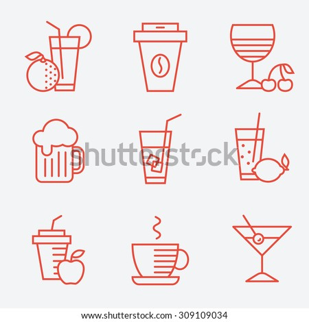 Set of drinks icons, flat design, thin line style - stock vector
