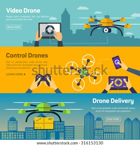 Set of drone banners - shipping, surveillance, control. Drone horizontal banners set with delivery and control elements isolated vector illustration - stock vector