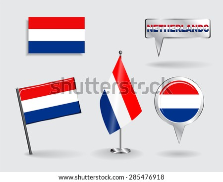 Set of Dutch pin, icon and map pointer flags. Vector illustration. - stock vector