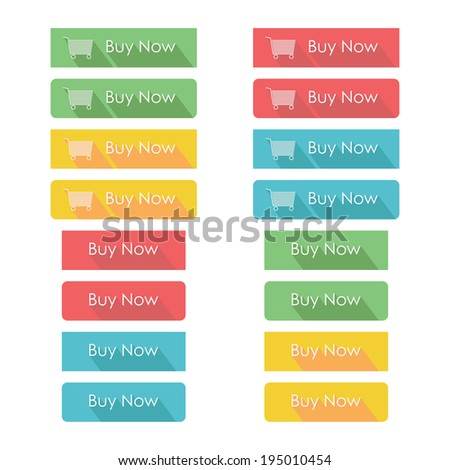 Set of e-commerce buttons. Buy now buttons template. Flat design with long shadow. Vector illustration - stock vector
