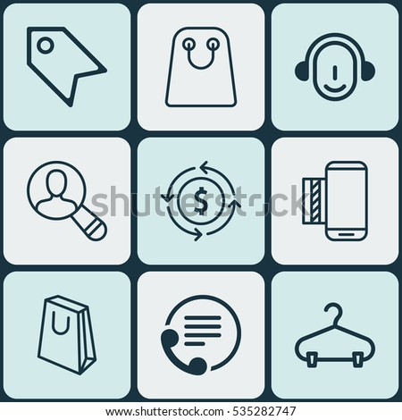 Set Of 9 E-Commerce Icons. Includes Finance, Employee, Price Stamp And Other Symbols. Beautiful Design Elements.