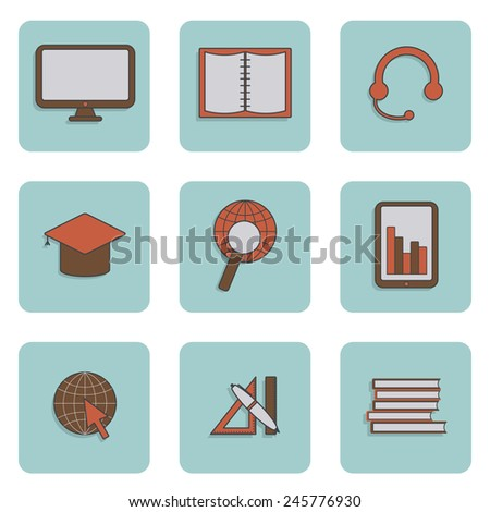 Set of e-learning icons for your design - stock vector
