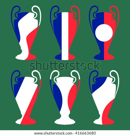 Set of eadership symbols of Euro 2016 in France. Championship cup. France participant, leader. Prize for game. Euro football cup 2016. Achievement for competition. Champion cup. Vector - stock vector