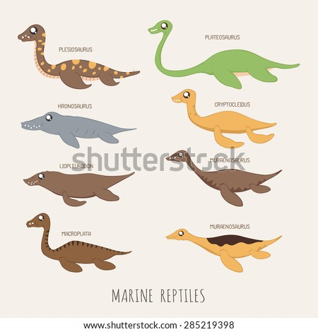 Set of Early carnivorous dinosaurs , eps10 vector format - stock vector