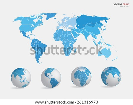 Set of earth globe icon and world map. Vector illustration.