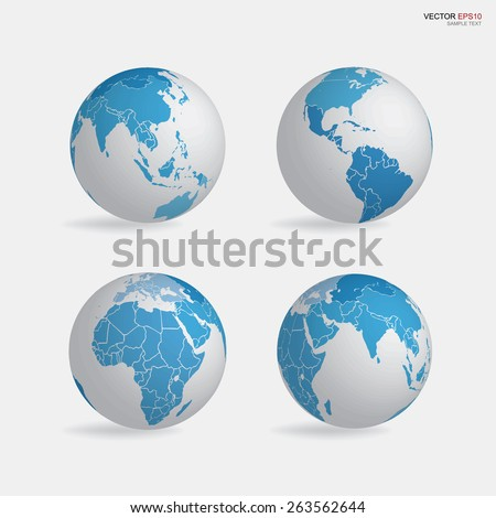 Set of earth globe icon. Vector illustration.