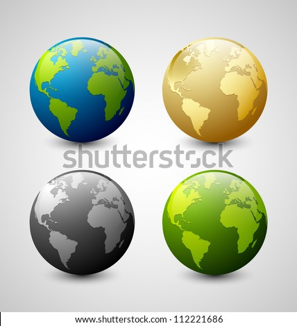 Set of Earth globe icons isolated on light grey background