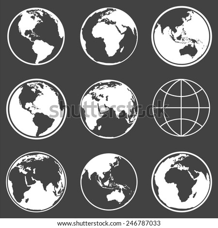 Set of earth planet globe logo icons for web and app. Vector travel, planet concept.