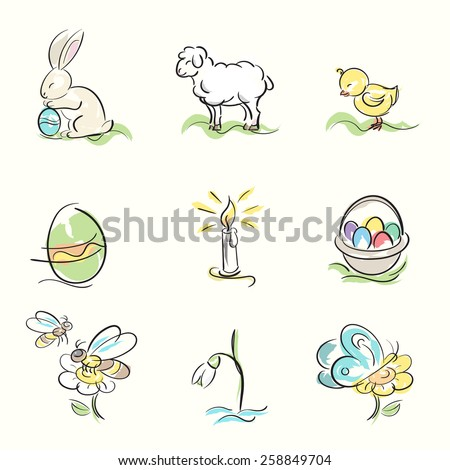 Set of Easter and spring hand drawn illustrations - stock vector