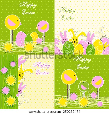 Set of Easter Backgrounds for Greeting card, banners, invitations or posters, vector illustration - stock vector