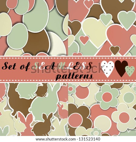 Set of Easter backgrounds Spring pattern Set of seamless patterns - stock vector