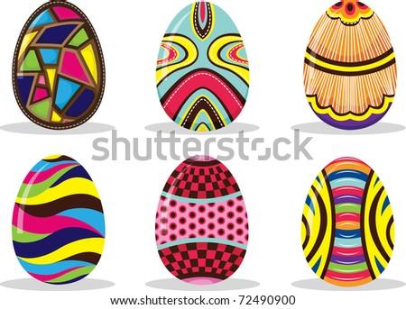 Set of Easter eggs - stock vector