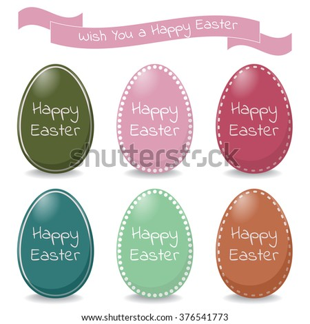 Set of easter eggs and pink ribbon