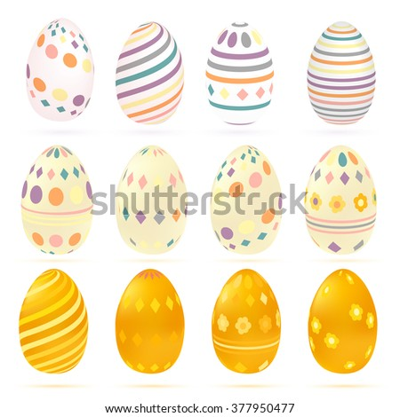 Set of easter eggs in vintage colorful style.