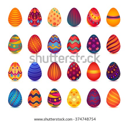 Set of Easter Eggs Isolated on White. Vector Bright Illustration - stock vector