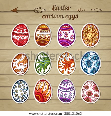 Set of Easter eggs labels. Collection of stickers with cool cartoon eggs on a wooden background.