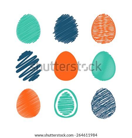 Set of easter eggs. Vector illustration. - stock vector