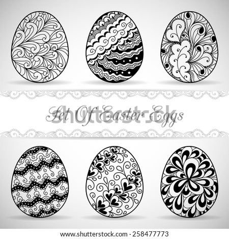 Set of easter eggs. Vector illustration with hand drawn eggs
