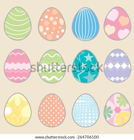 Set of easter eggs. Vintage easter egg design set. Illustration of twelve easter eggs on a gray background. EPS 10 vector illustration for design. Elements for design. - stock vector