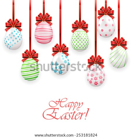 Set of Easter eggs with bow on white background, illustration. - stock vector