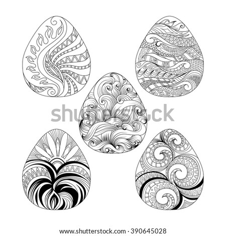 Set Of Easter Eggs With Hand Drawing Doodles Graphic Pattern For Design
