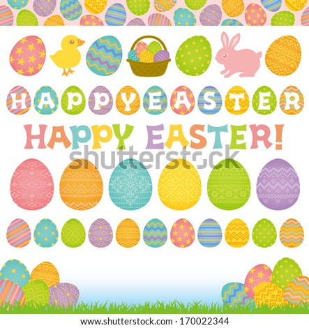 Set of Easter elements. Easter eggs. - stock vector