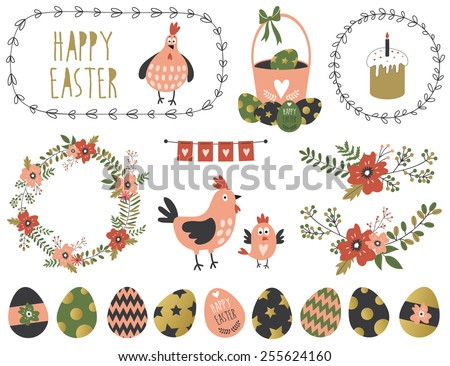 Set of Easter elements. Vector illustration.