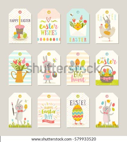 Set easter gift tags labels cute stock vector 579933520 shutterstock set of easter gift tags and labels with cute cartoon characters and type design easter negle Images