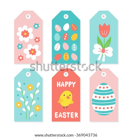 Set easter gift tags flowers eggs stock vector 369043736 set of easter gift tags with flowers eggs willow chicken bow negle Choice Image