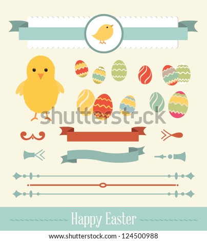 Set of easter ornaments and decorative elements, vintage banner, ribbon, labels, frames, badge, stickers. Vector easter element. Vintage chick - stock vector