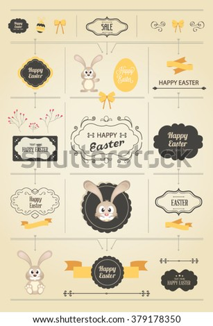 Set of Easter ornaments and decorative elements, vintage banner, ribbon, labels, frames, badge, stickers. Vector Easter Bunny and eggs - stock vector