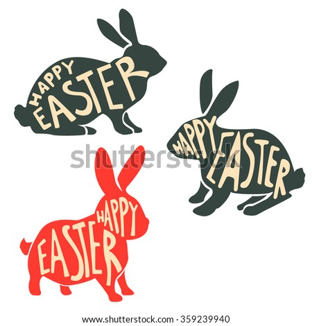 Set of easter rabbit silhouettes with lettering. Happy Easter. Easter Bunny. Vector illustration. - stock vector