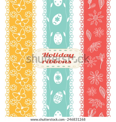 Set of Easter ribbons. Vector seamless ribbons for spring holidays in warm colors with butterfly, flower, decorated egg. Perfect for decorating holiday greetings, invitations, gift wrapping paper - stock vector