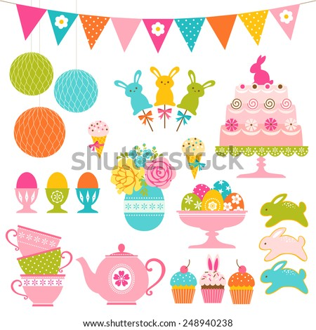 Set of Easter sweets, Easter eggs and party decorations. - stock vector