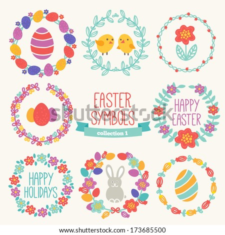 Set of Easter symbols - wreaths, eggs, rabbit, chickens. Perfect for greeting cards and postcards - stock vector