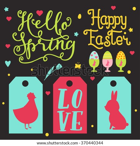 Set of Easter tags. Cute, trendy design elements for different decor. Lettering sing - Hello spring, happy easter, love. Happy Easter design elements set with cute bunny, eggs, chicken, lettering.  - stock vector