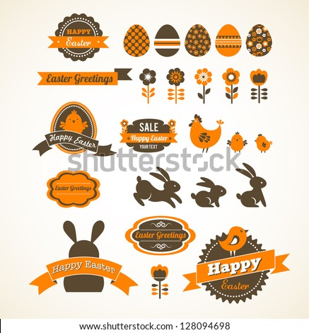 Set of easter vintage elements, banner, labels and frames - stock vector