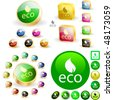 Set of eco buttons. Vector great collection. - stock vector